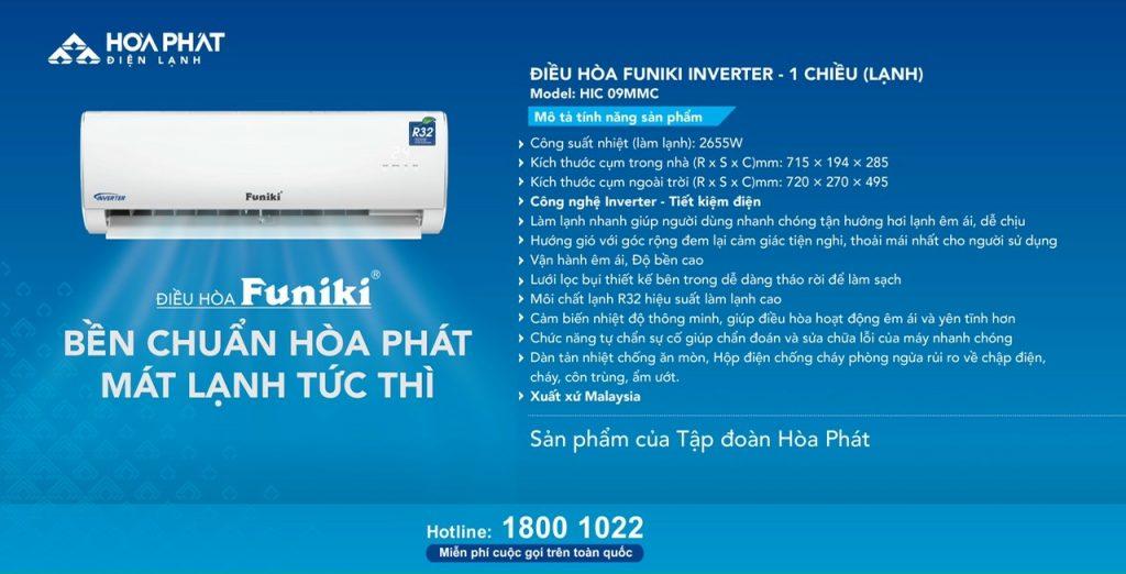 Điều hòa treo tường Funiki Inverter 9000btu HIC 09MMC – Bền chuẩn Hòa Phát mát lạnh tức thì – Khơi nguồn cảm hứng